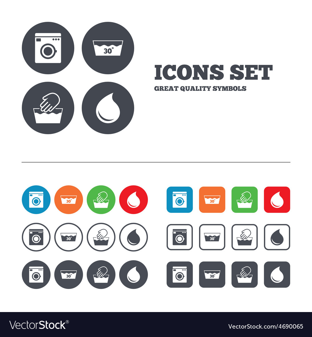 Wash icons machine washable at thirty degrees vector   Price: 1 Credit (USD $1)