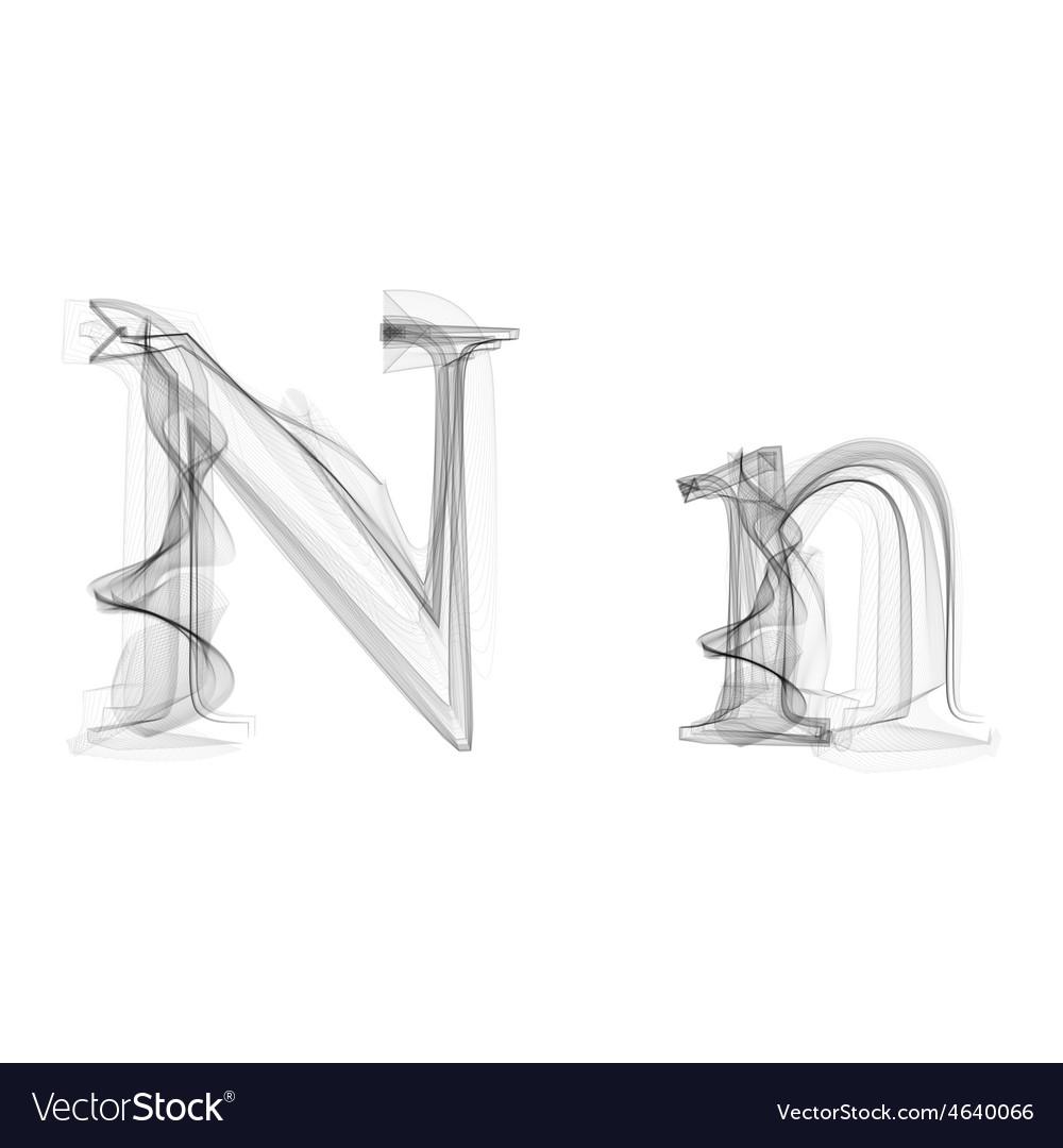 Black smoke font letter n vector | Price: 1 Credit (USD $1)