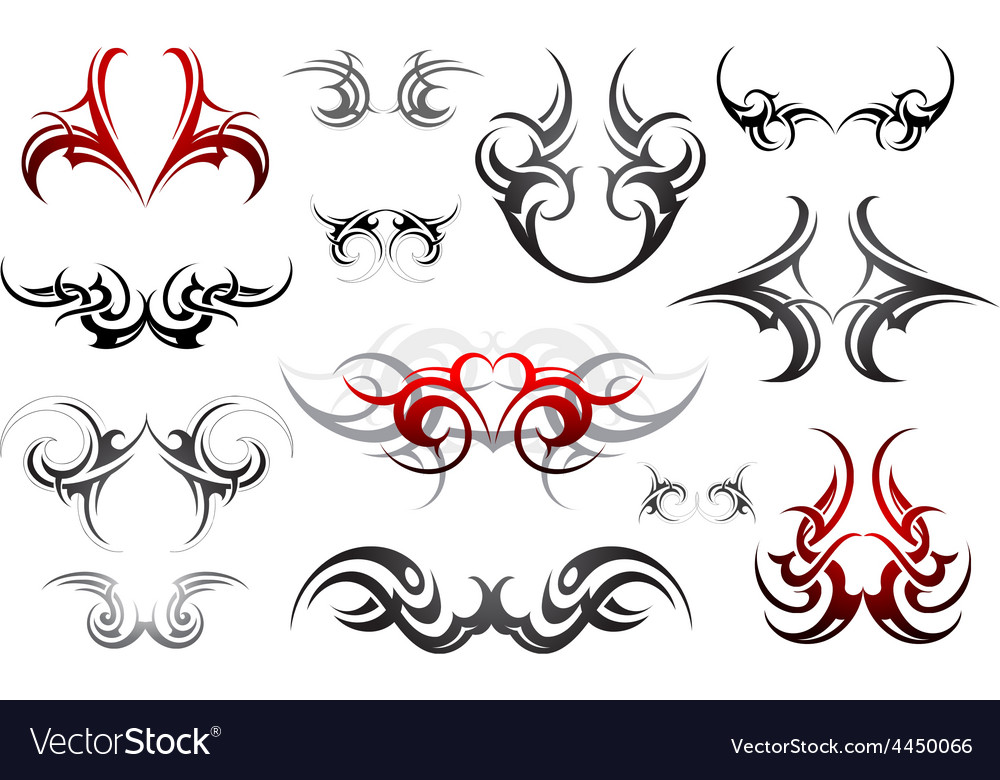 Body art tribal tattoo set vector | Price: 1 Credit (USD $1)