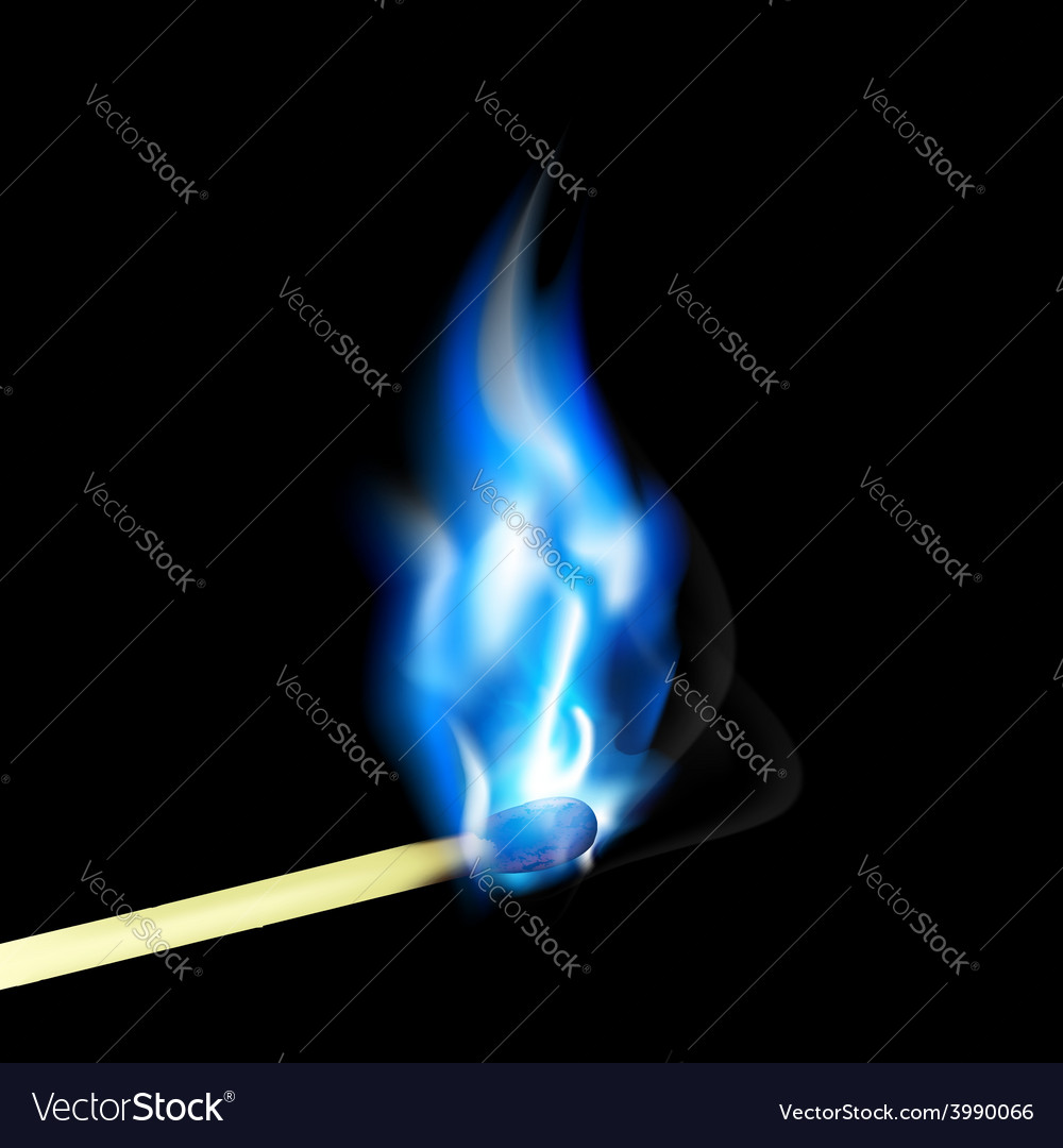 Burning match with blue flame vector | Price: 1 Credit (USD $1)
