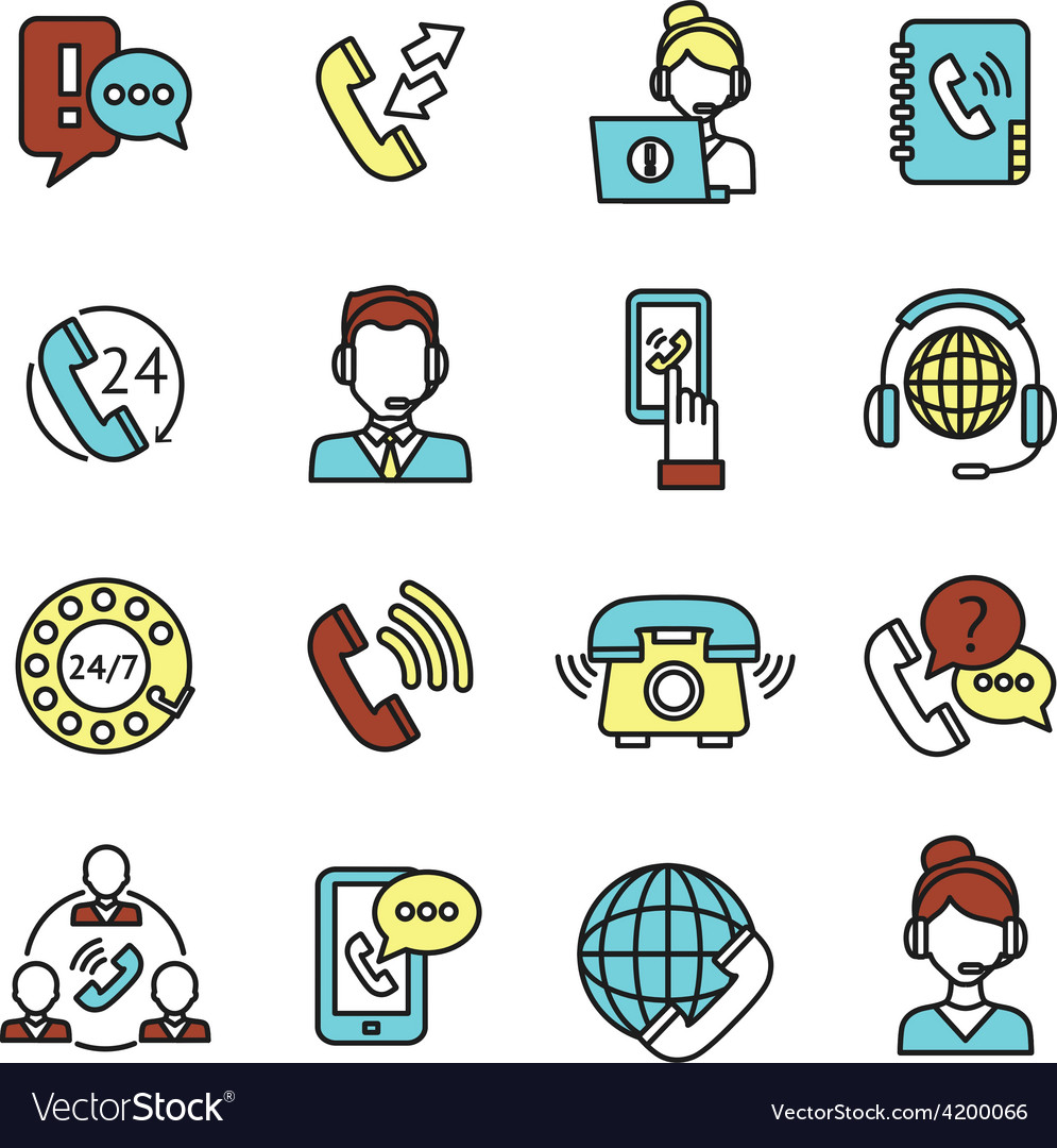 Call center icons set vector | Price: 1 Credit (USD $1)