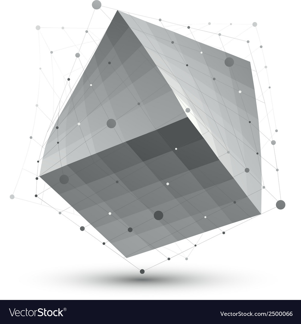 Distorted 3d abstract object with lines and dots vector | Price: 1 Credit (USD $1)