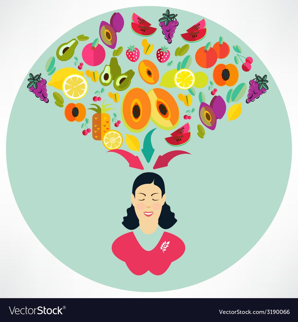 Elegant woman presenting healthy vegetables heart vector | Price: 1 Credit (USD $1)