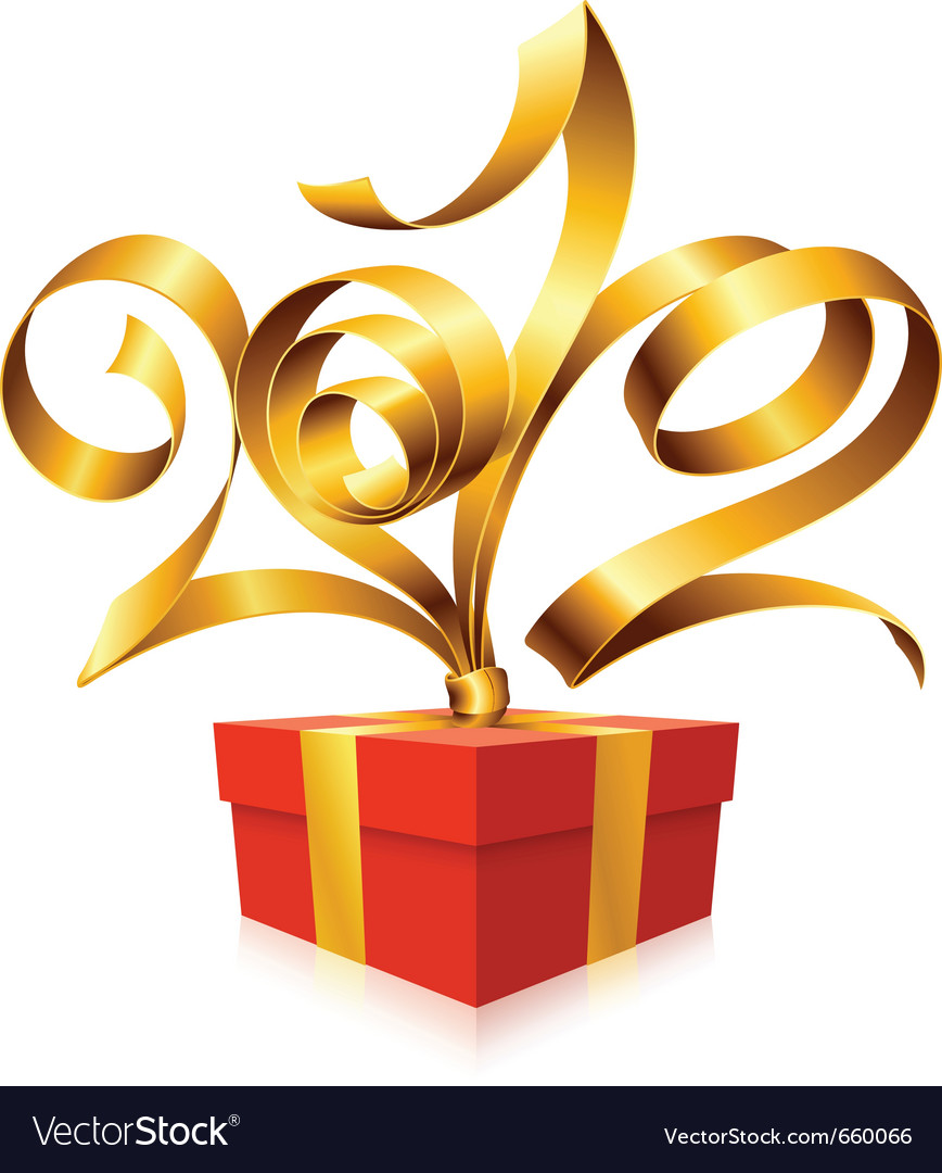 Golden ribbon and gift box vector | Price: 3 Credit (USD $3)