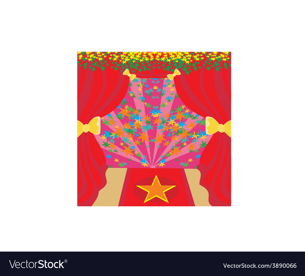 Movie star symbol on a red carpet representing vector | Price: 1 Credit (USD $1)