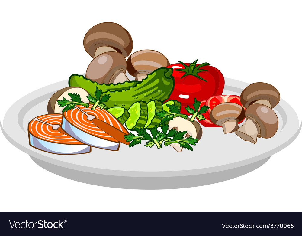 Plate of assorted vegetables mushrooms fish vector | Price: 1 Credit (USD $1)