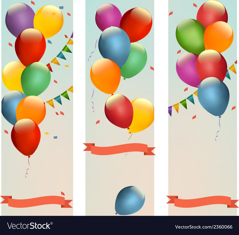 Retro holiday banners with colorful balloons and vector | Price: 1 Credit (USD $1)