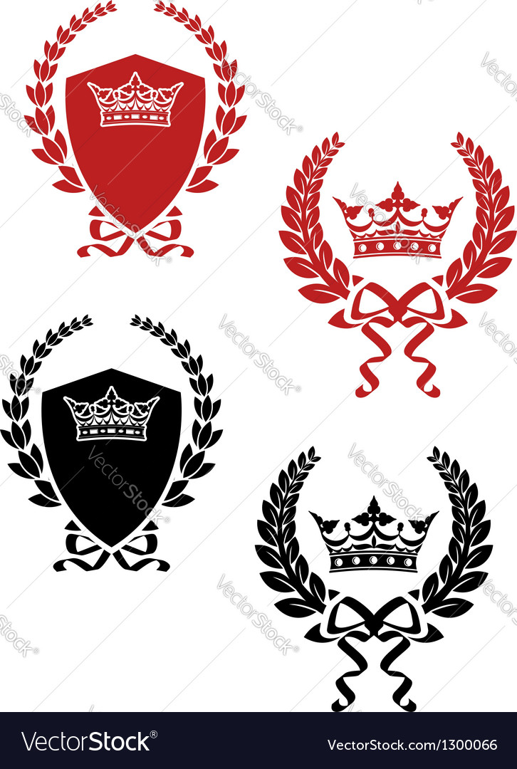 Retro laurel wreathes with ribbons and crowns vector | Price: 1 Credit (USD $1)