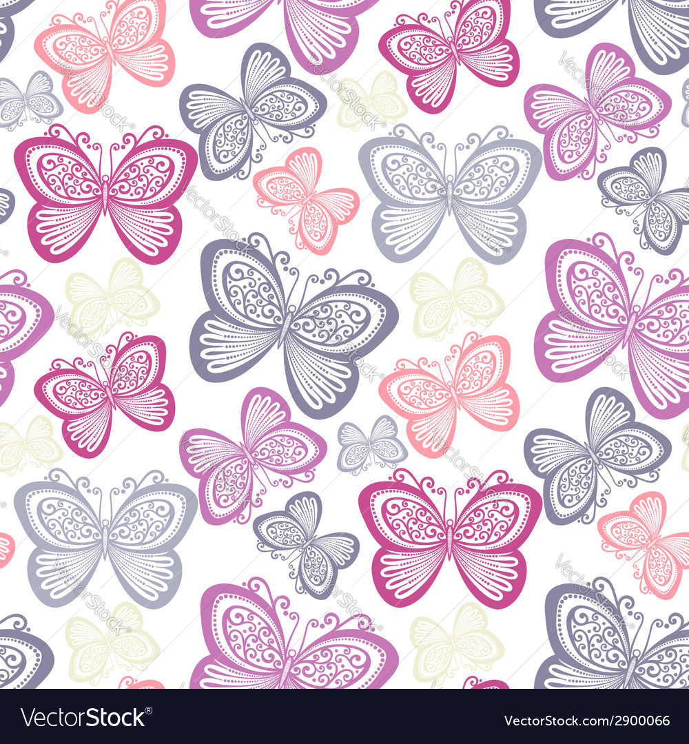 Seamless floral pattern with butterflies vector | Price: 1 Credit (USD $1)