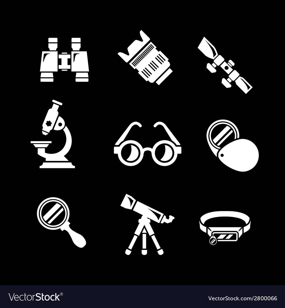 Set icons of optics equipment vector | Price: 1 Credit (USD $1)