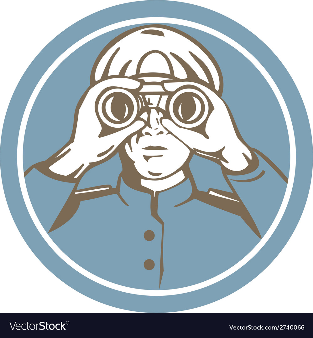 Ship sea captain binoculars circle retro vector | Price: 1 Credit (USD $1)