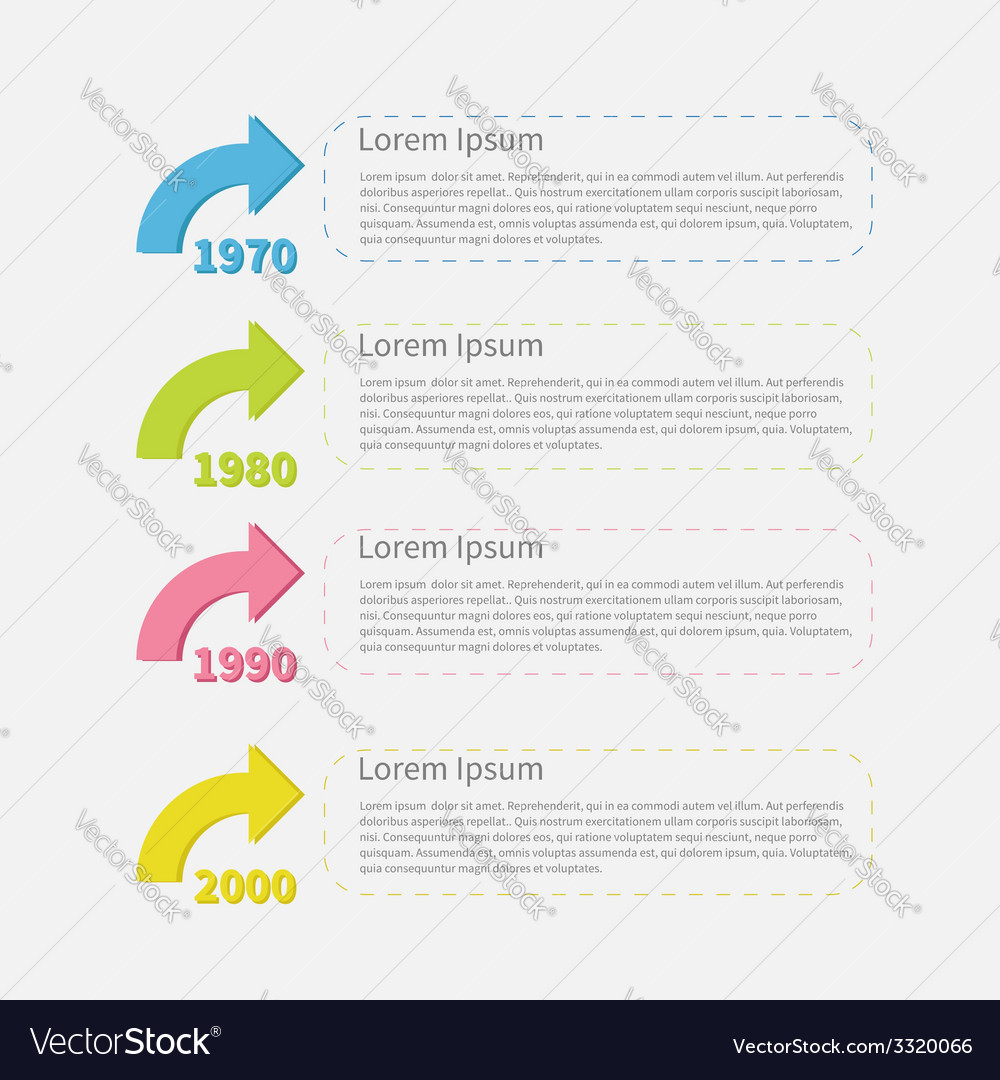Timeline vertical infographic with colored arrows vector | Price: 1 Credit (USD $1)