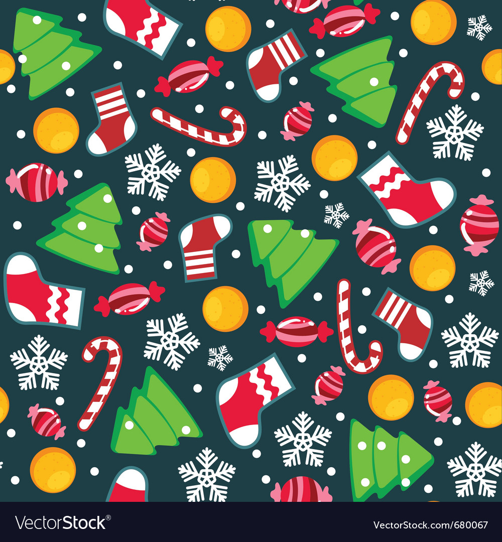 Christmas seamless wallpaper vector | Price: 1 Credit (USD $1)