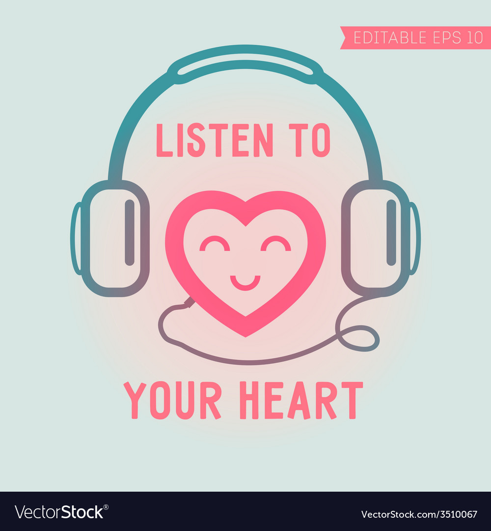 Cute heart listening yourself vector | Price: 1 Credit (USD $1)