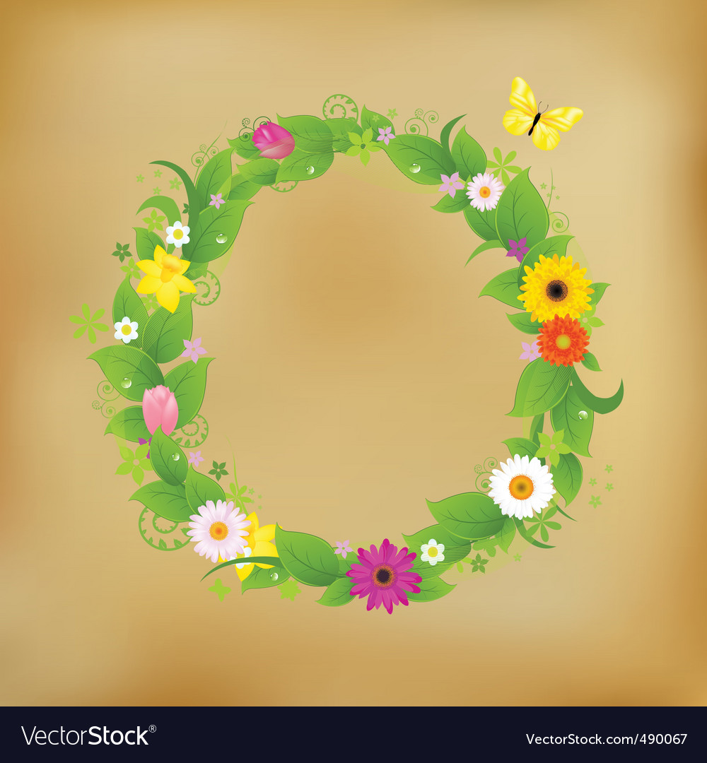 Flower wreath on old paper vector | Price: 1 Credit (USD $1)