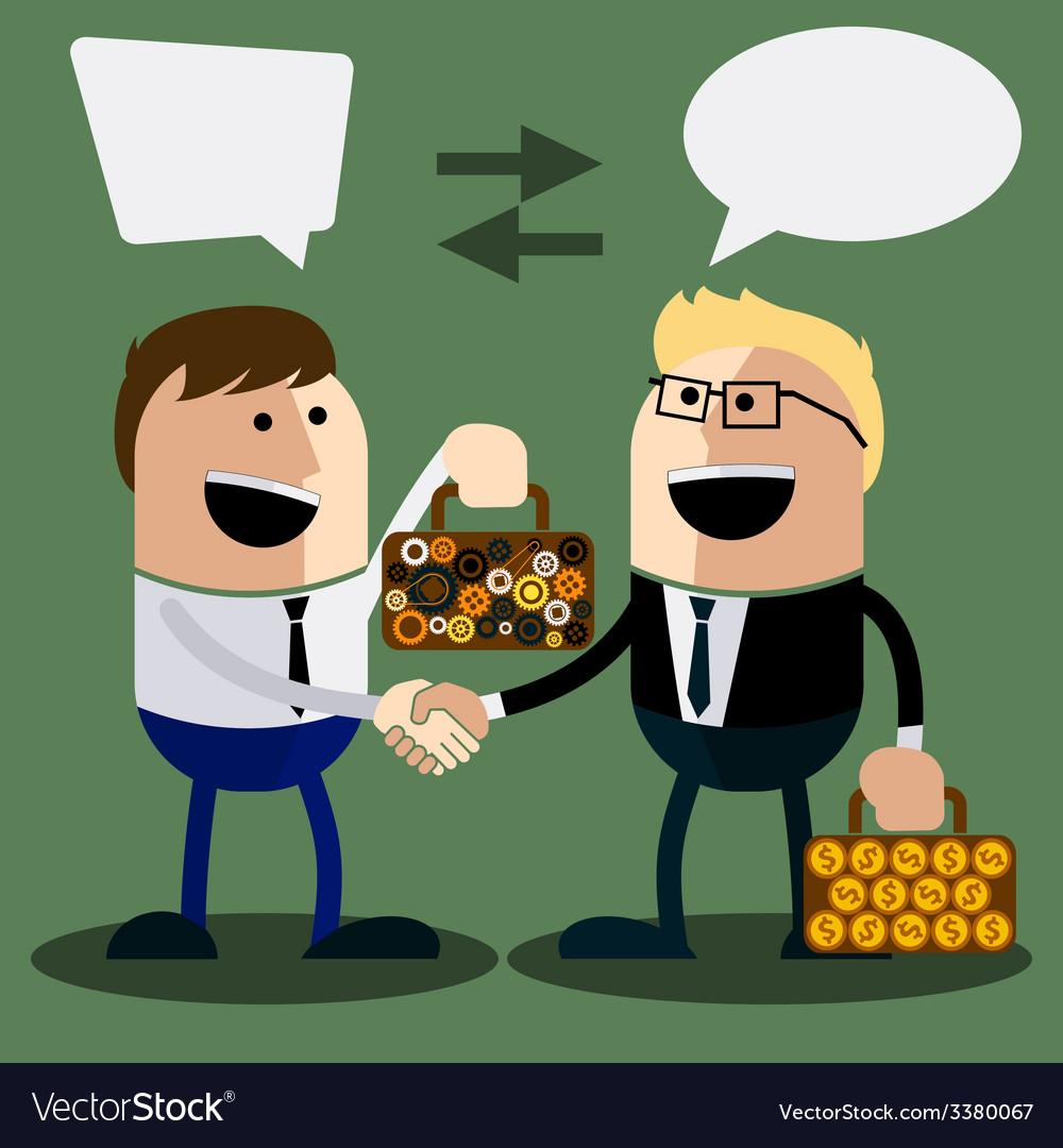 Happy business man make handshake vector | Price: 1 Credit (USD $1)
