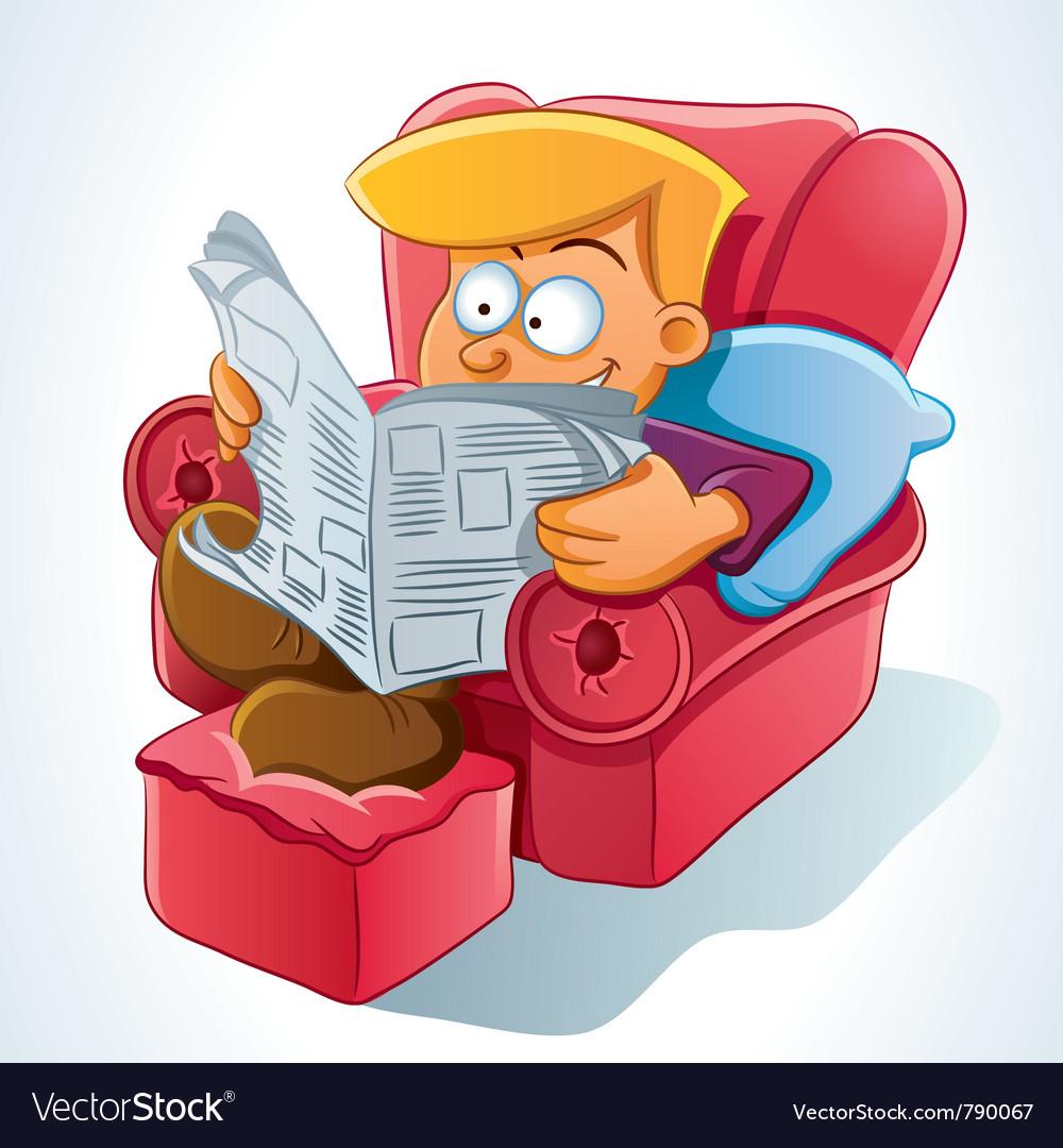 Man reading newspaper vector   Price: 5 Credit (USD $5)