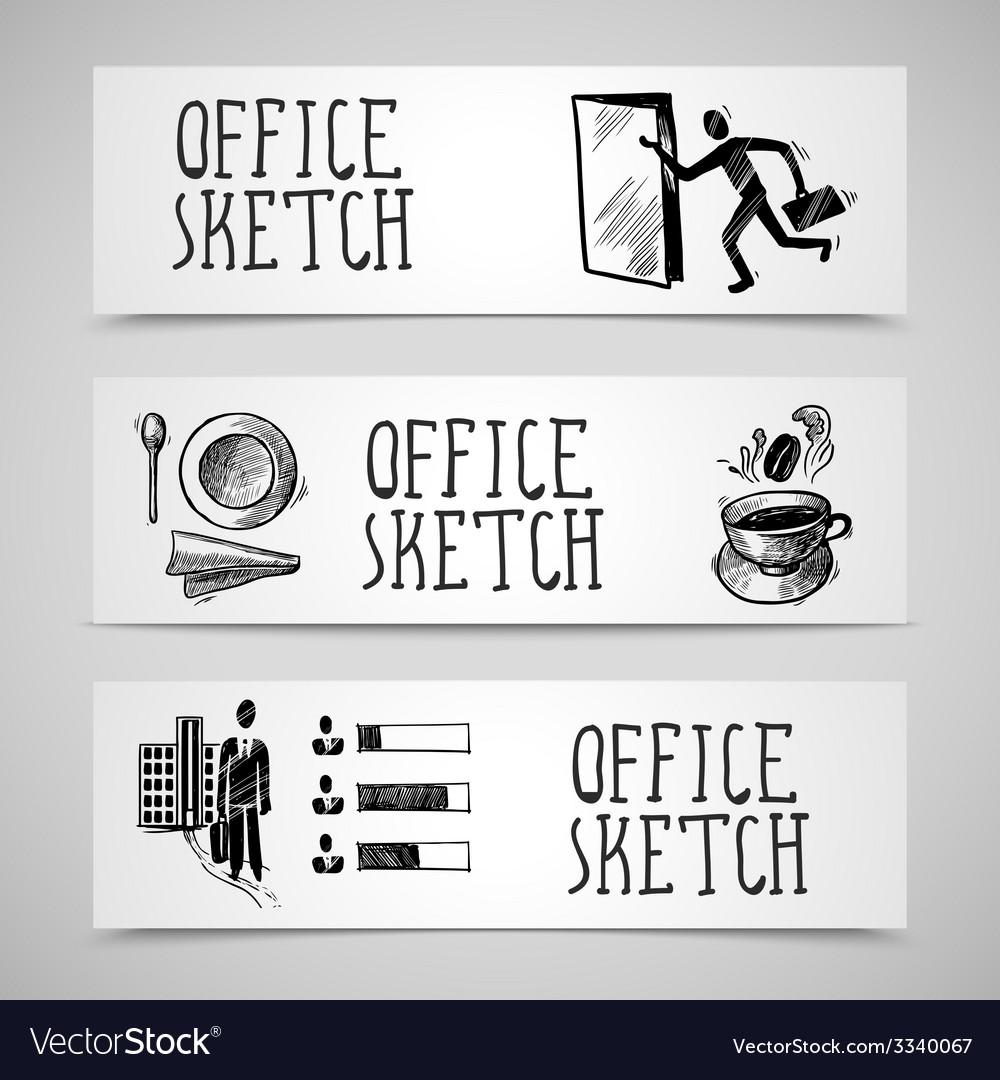 Office sketch banner set vector | Price: 1 Credit (USD $1)