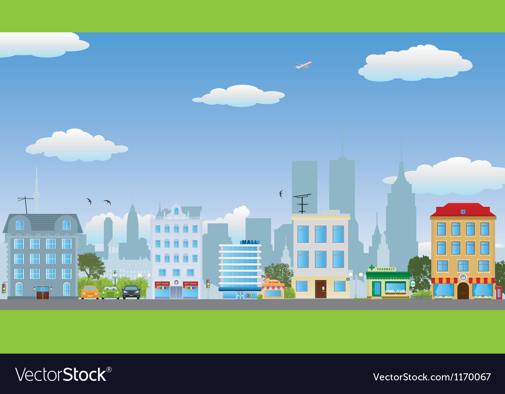 The row of houses vector | Price: 3 Credit (USD $3)