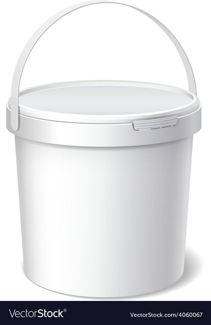 Small white plastic bucket product packaging vector   Price: 1 Credit (USD $1)