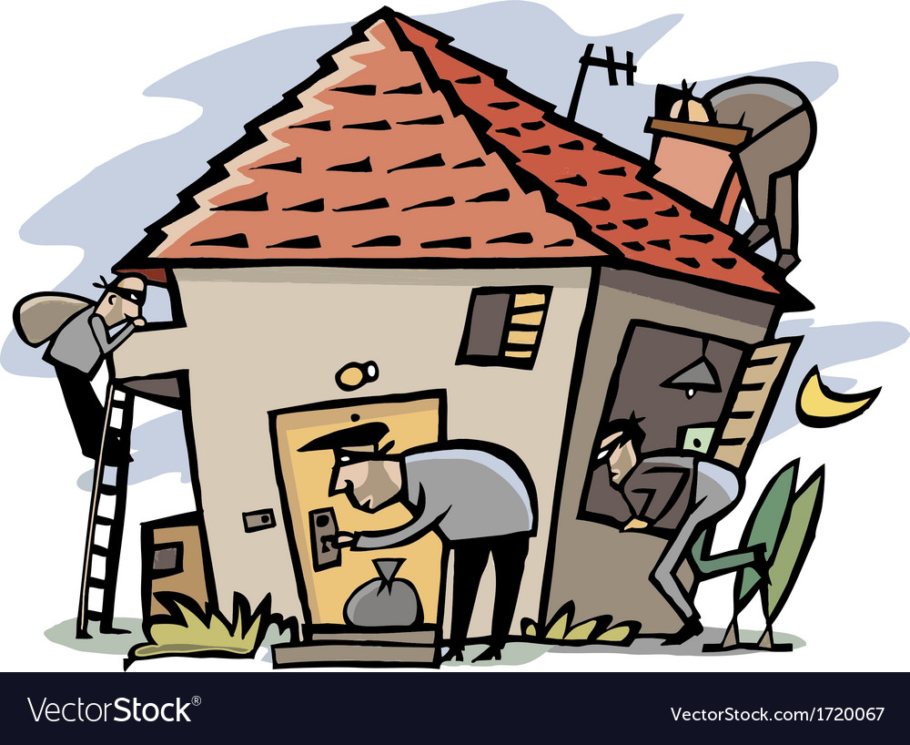 Thieves break into house vector | Price: 3 Credit (USD $3)