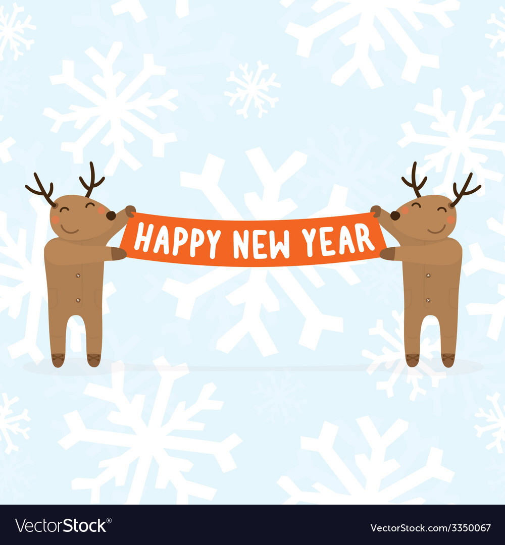 Two cartoon deers holding happy new year sign vector | Price: 1 Credit (USD $1)