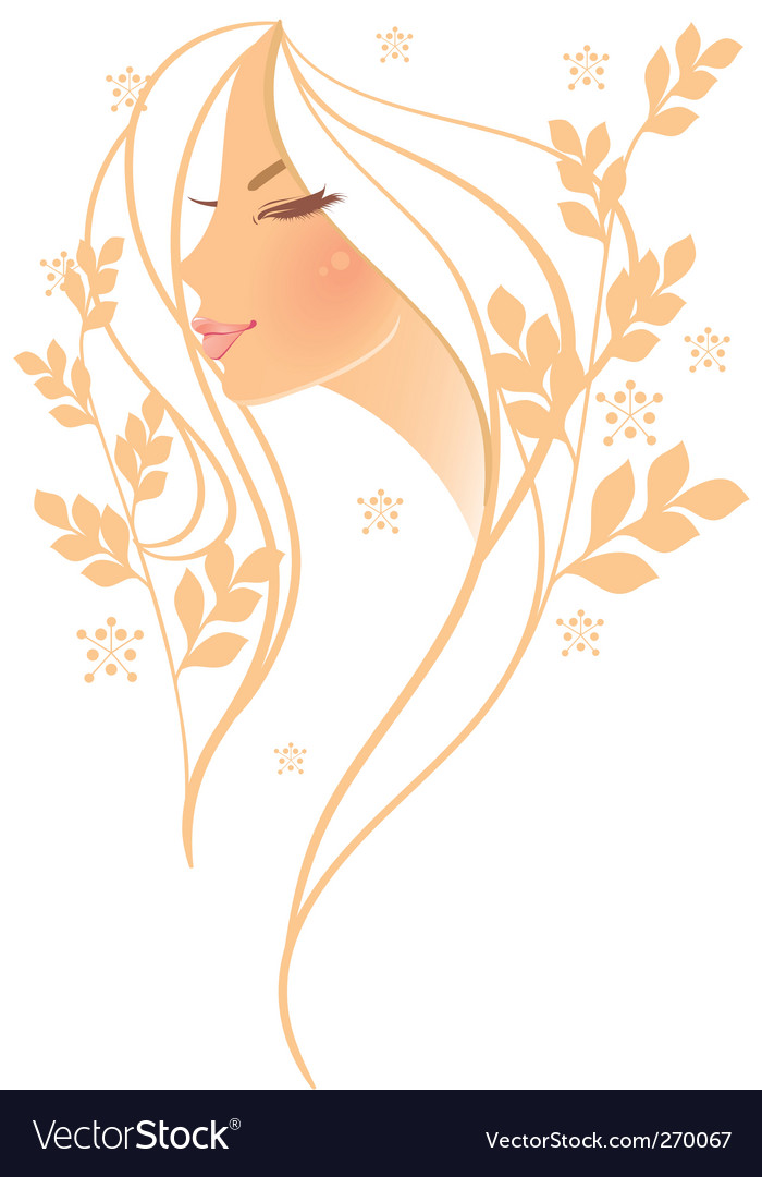 Women profile leaf floral vector | Price: 3 Credit (USD $3)