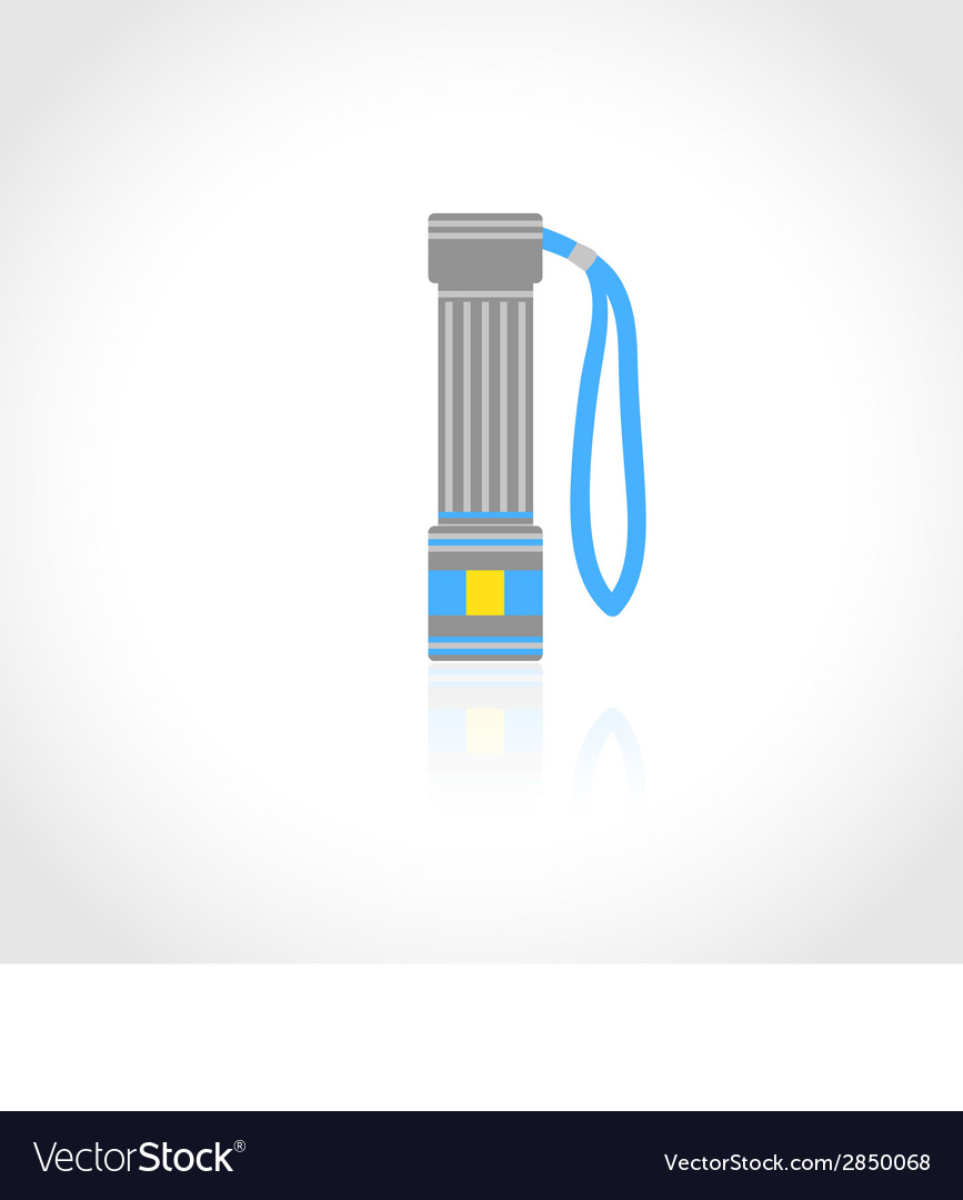 Flashlight flat isolated vector | Price: 1 Credit (USD $1)