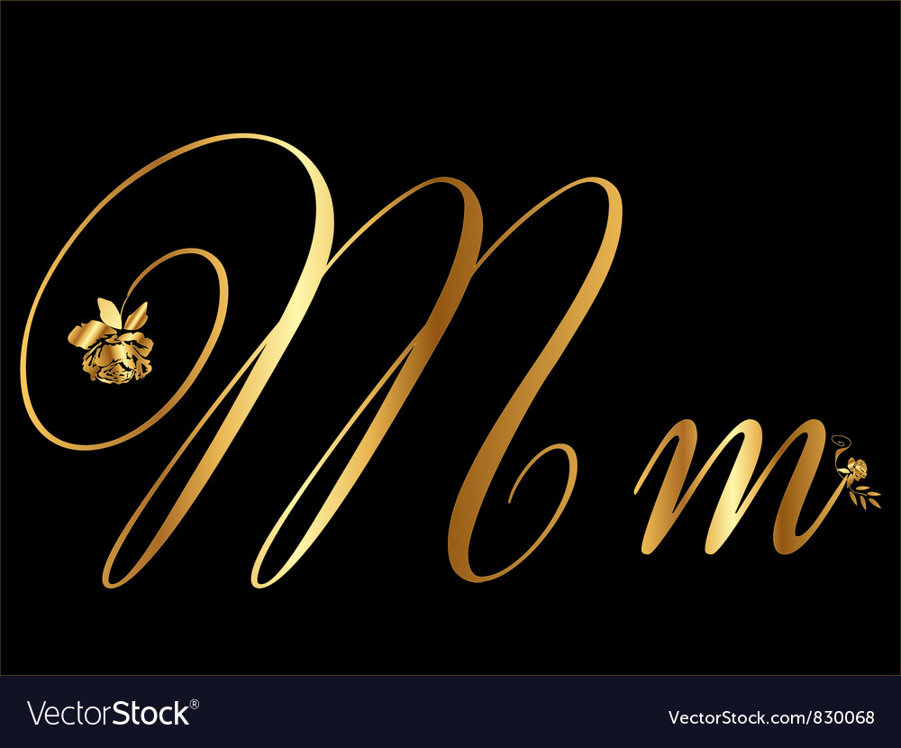 Gold letter m with roses vector | Price: 1 Credit (USD $1)