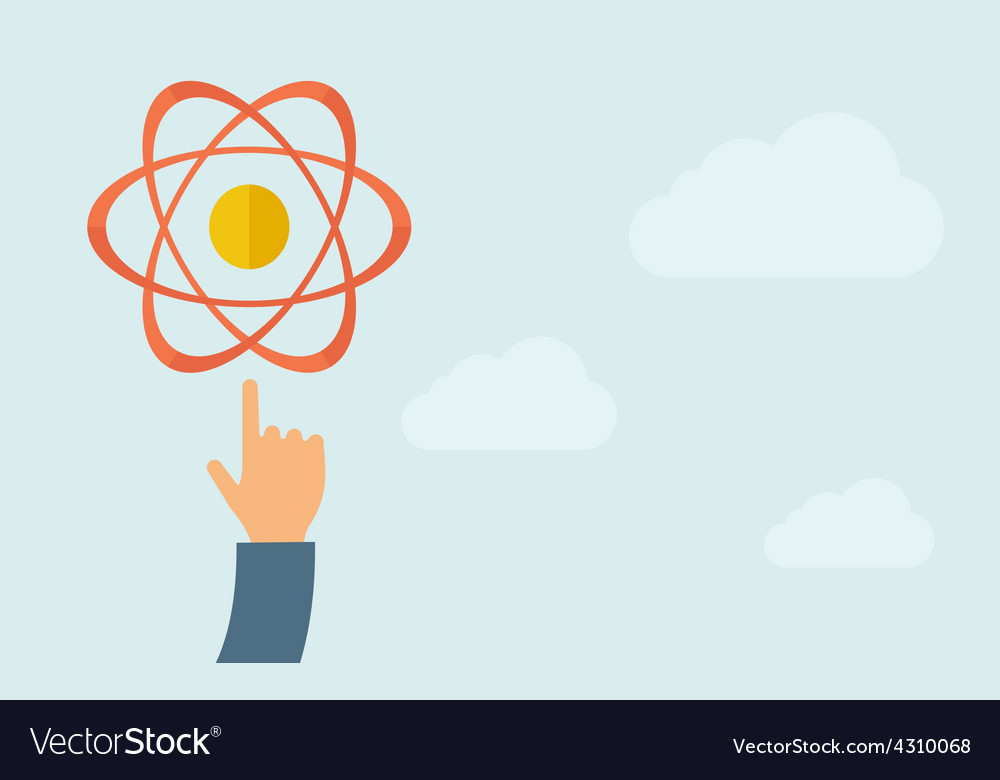 Hand pointing to science technology icon vector | Price: 1 Credit (USD $1)