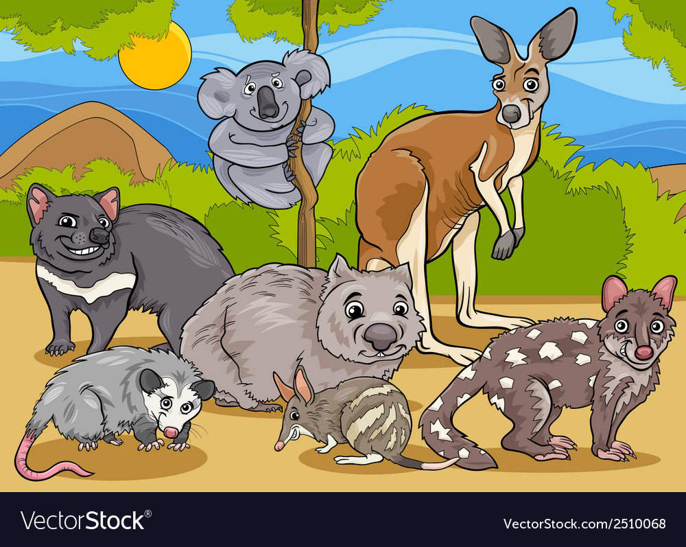 Marsupials animals cartoon vector | Price: 1 Credit (USD $1)