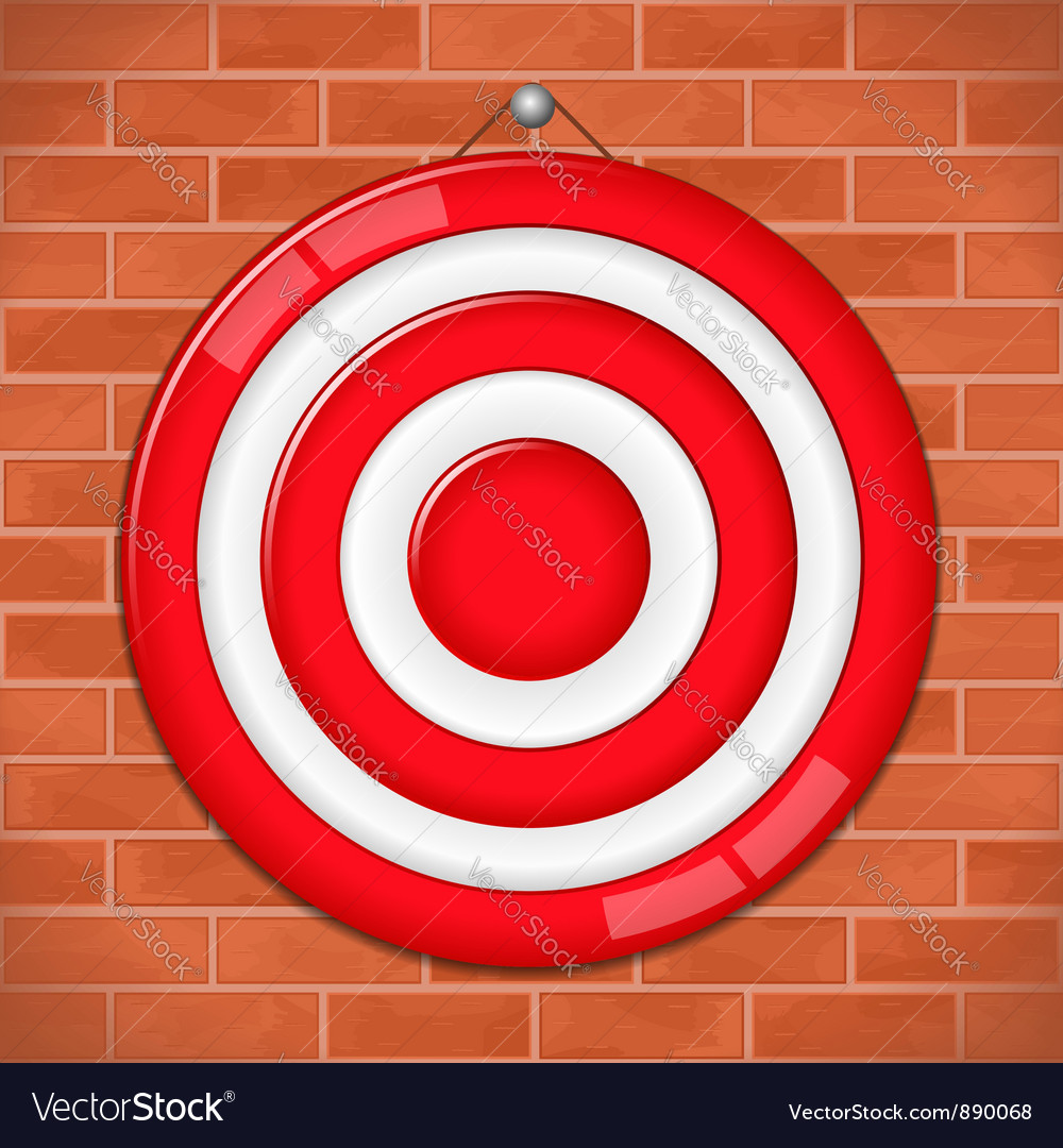 Red target on brick wall vector | Price: 1 Credit (USD $1)