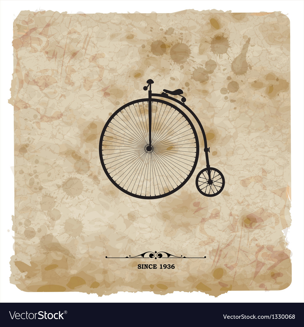Vintage postcard retro bicycle on grunge vector | Price: 1 Credit (USD $1)