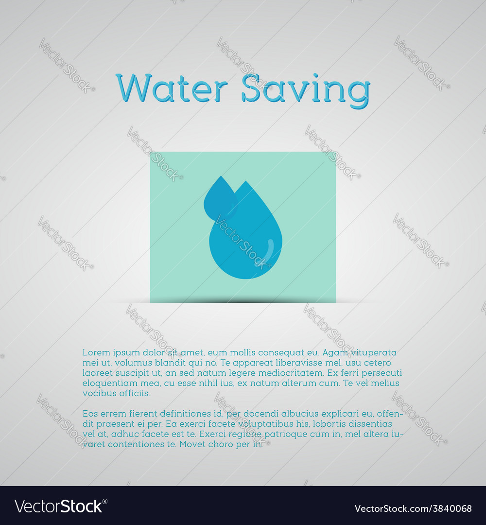 Water saving poster silver background minimalistic vector   Price: 1 Credit (USD $1)