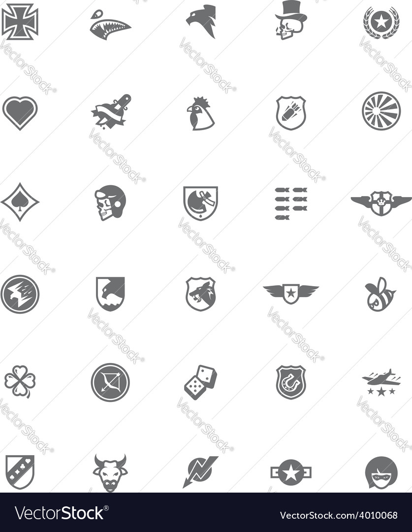 Ww2 styled military emblem set vector | Price: 1 Credit (USD $1)