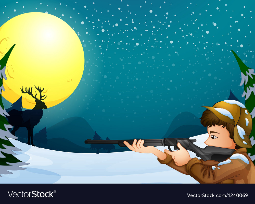 A hunter in a snowy season vector | Price: 1 Credit (USD $1)