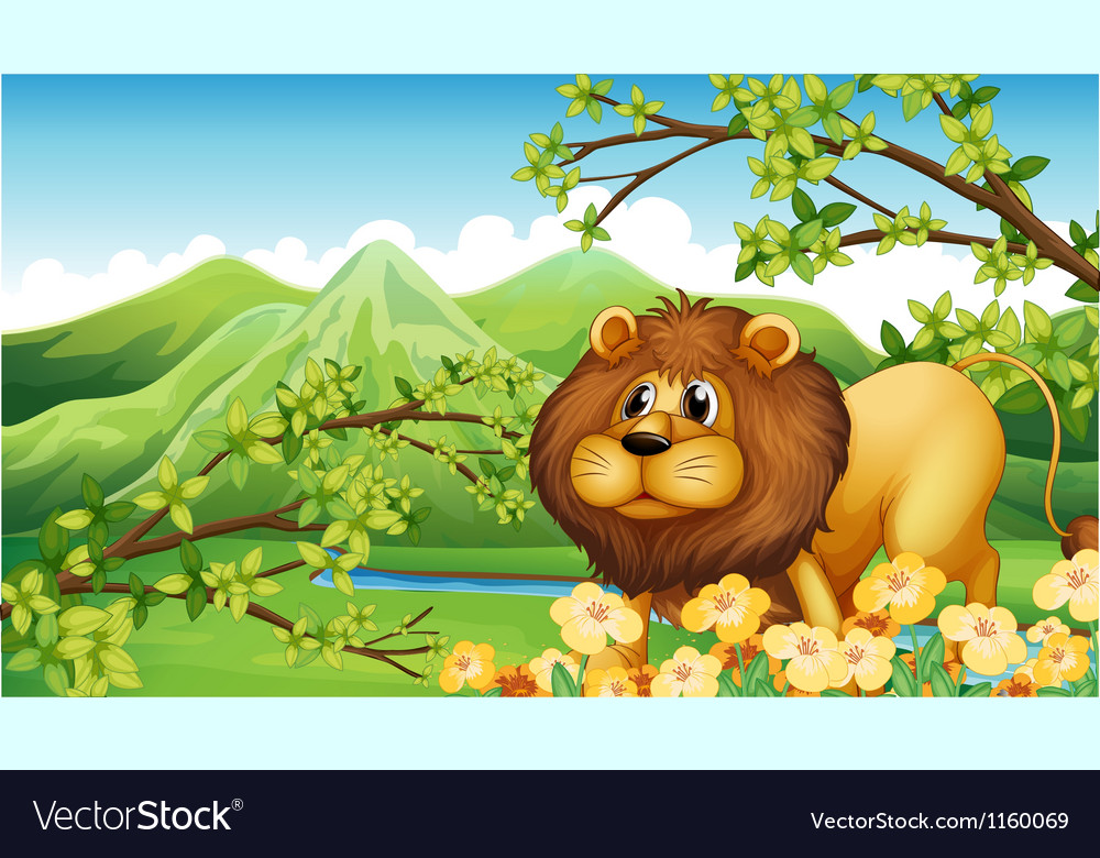 A lion in a green mountain area vector | Price: 1 Credit (USD $1)