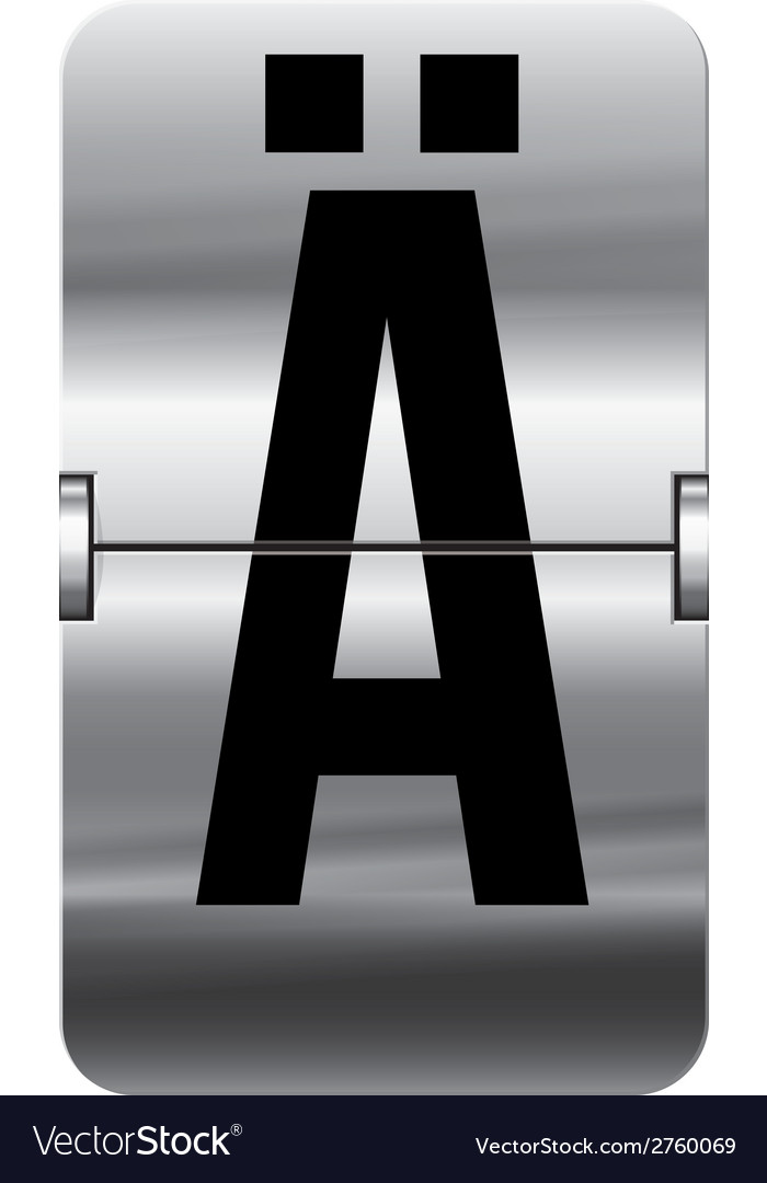 Alphabet silver flipboard letters a umlaut vector | Price: 1 Credit (USD $1)