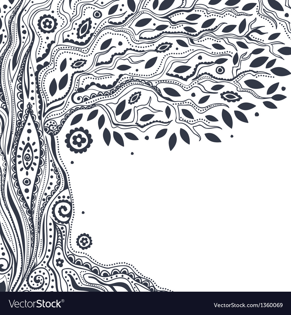 Beautiful vintage hand drawn tree of life vector | Price: 1 Credit (USD $1)