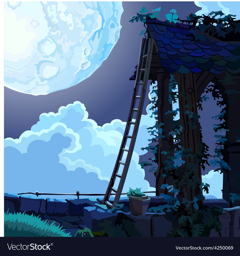 Cartoon fairy house in the sky on a moonlit night vector | Price: 3 Credit (USD $3)