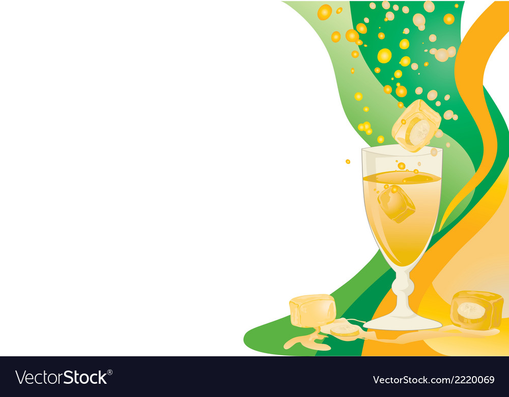 Drink card with ice and banana vector | Price: 1 Credit (USD $1)