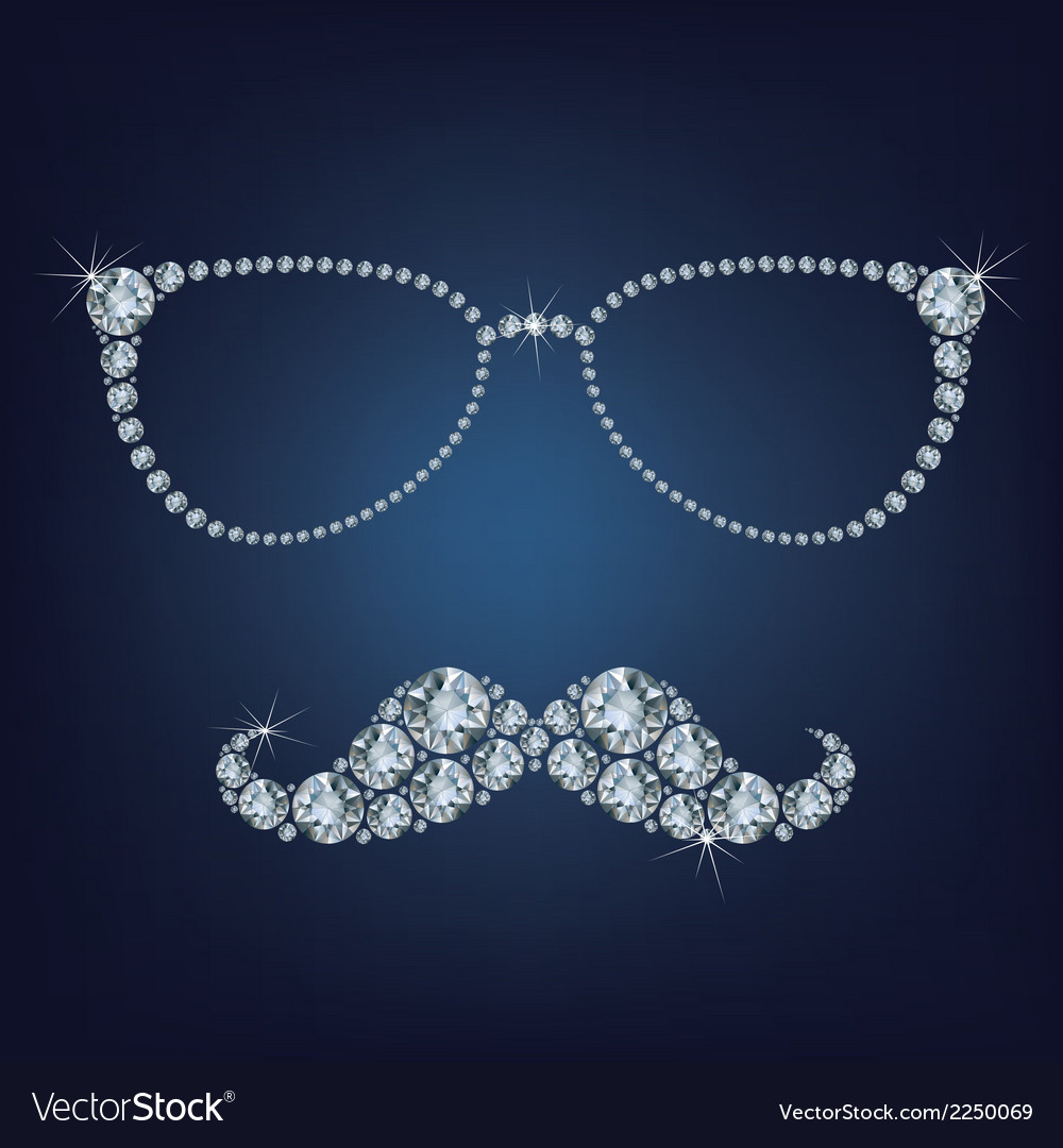 Hipster mustache and glasses made up a lot of diam vector | Price: 1 Credit (USD $1)