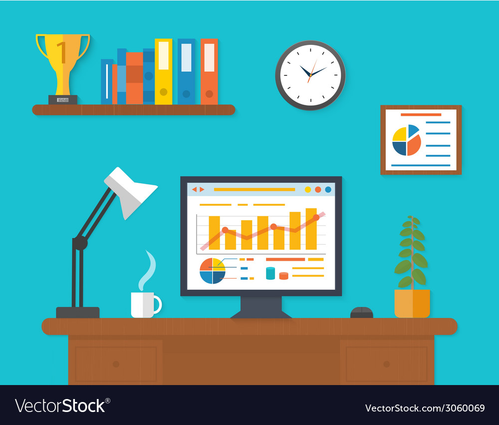 Modern office interior with seo desktop vector | Price: 1 Credit (USD $1)