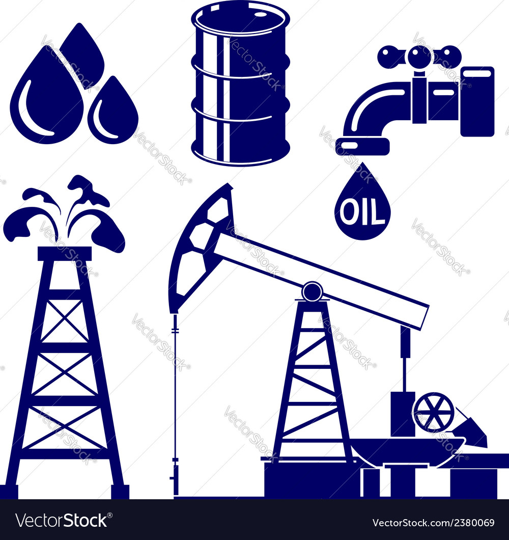 Oil industry icon set symbol vector | Price: 1 Credit (USD $1)