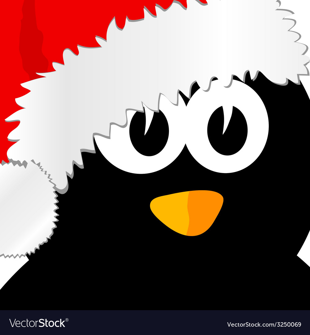 Penguin with christmas hat art vector | Price: 1 Credit (USD $1)