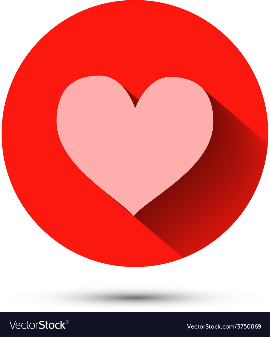 Pink heart icon on red background with shadow vector | Price: 1 Credit (USD $1)