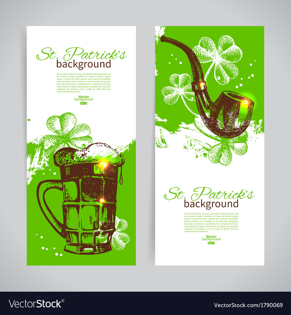 Set of st patricks day banners with hand drawn vector | Price: 1 Credit (USD $1)