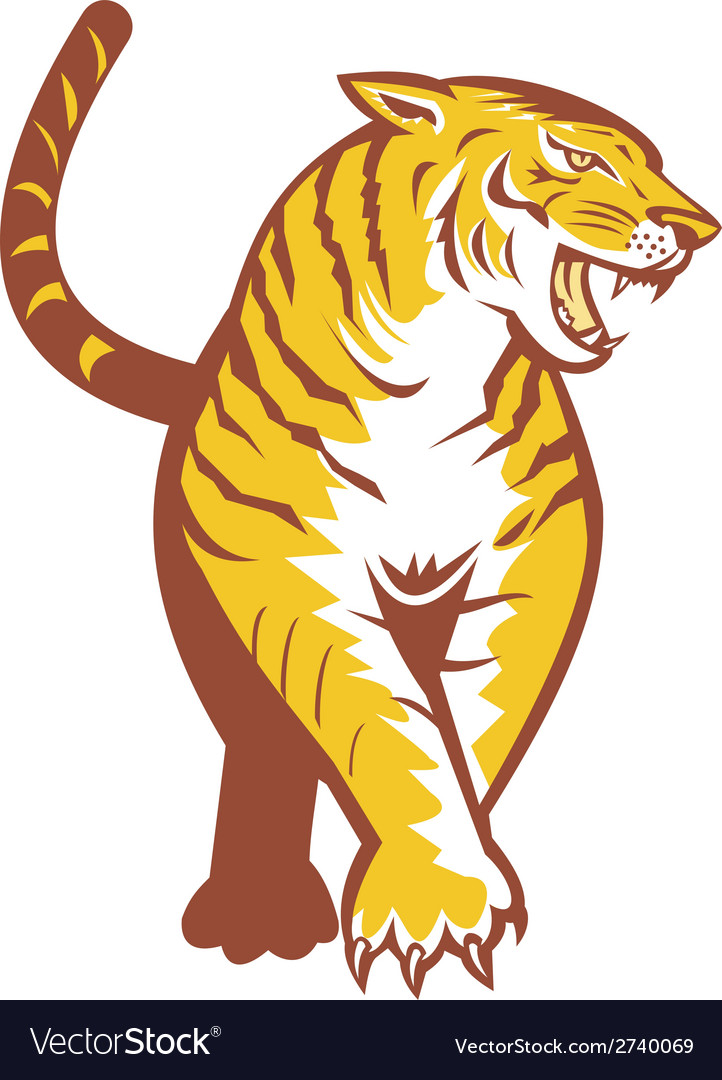 Tiger prowling retro vector | Price: 1 Credit (USD $1)
