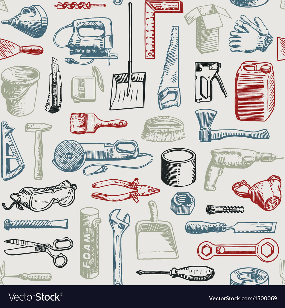 Tools instruments seamless pattern vector | Price: 1 Credit (USD $1)