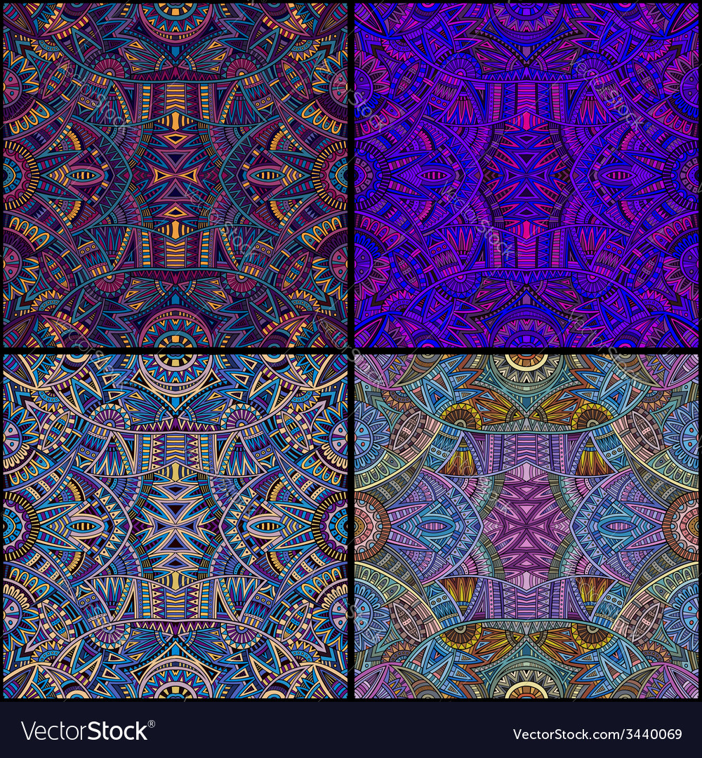 Tribal ethnic seamless pattern set vector | Price: 1 Credit (USD $1)